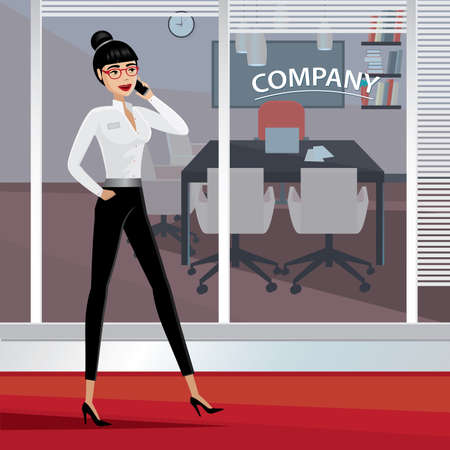 businesslike: Busy business woman walking around the office and talking on phone Illustration