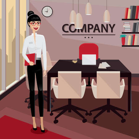business meeting: Smiling business woman standing in her private office and welcomes