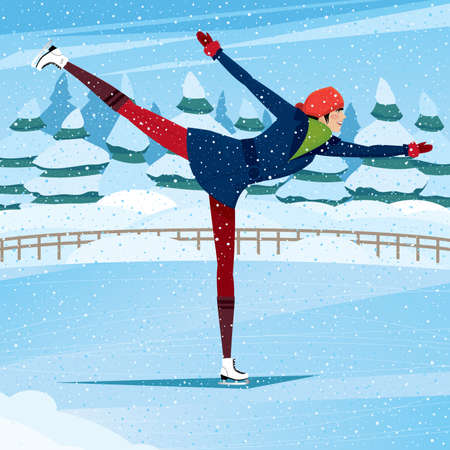 eagerness: Sportswoman performs camel spin on ice rink - training and practice concept