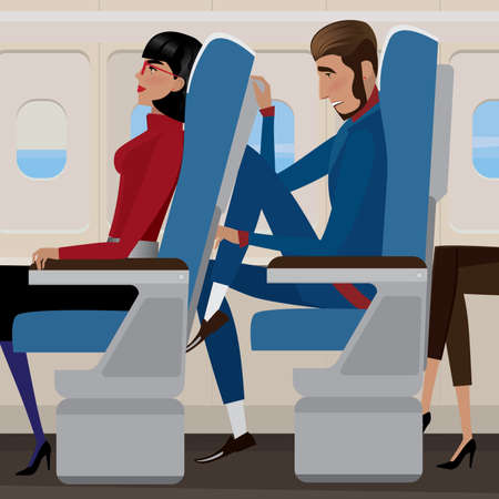 sorrowful: Woman sat back in a reclining seat and man behind the closely - discomfort and saving money concept