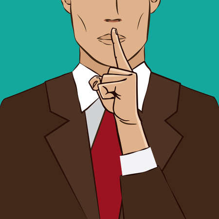 Man pointing index finger on lips - closeup gesture shush Illustration