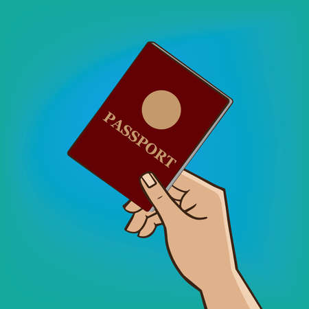 verification: Man extends his hand with the passport - verification of documents or passport control concept Illustration