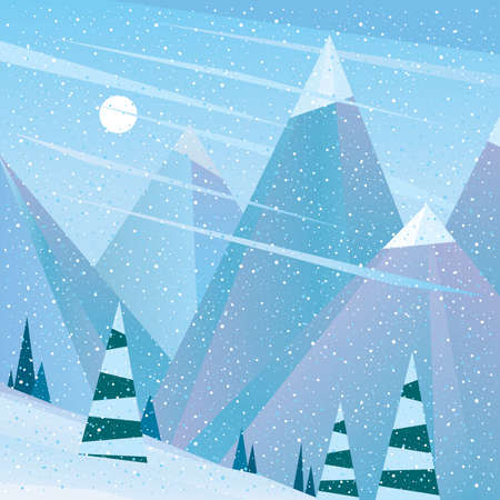 Lovely view of the ski area - serenity concept Illustration