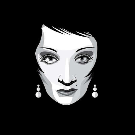 fullface: Black and white full-face isolated portrait on black background featuring extravagant woman with long hair, mesmerizing the audience