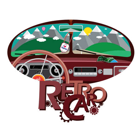 windshield: Vector illustration on white background featuring travel on retro car, composition from the view from the windshield with text