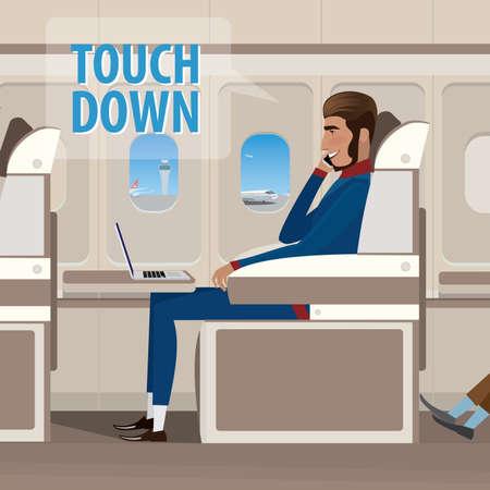 Man sitting in the plane landed on the phone - touch down concept Иллюстрация
