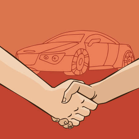 business meeting: Two men shaking hands on the background of the car - rental or sale concept