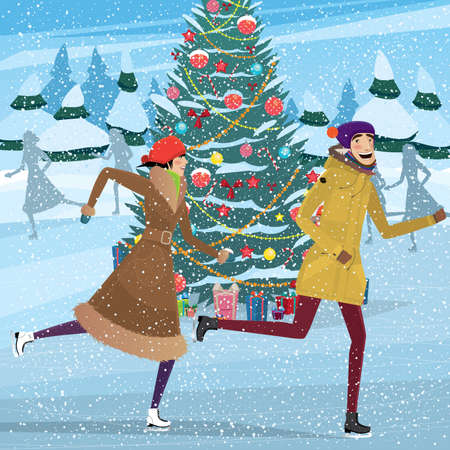 ardor: Couple skating near Christmas tree on ice skating rink - Christmastime concept