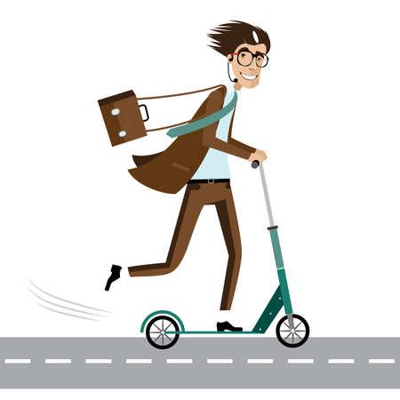 scooter: Ilustraci�n del vector en el fondo blanco con feliz hombre de negocios con la cartera y el auricular en scooter