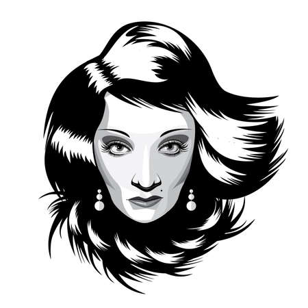 charm temptation: Black and white full-face isolated portrait on white background featuring extravagant woman with long hair, mesmerizing the audience Illustration