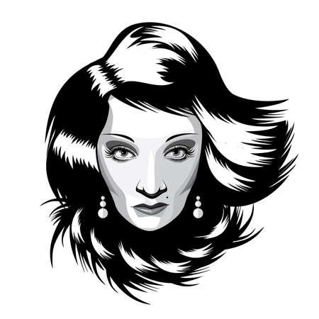 fascinação: Retrato isolado full-face preto e branco sobre fundo branco que caracteriza mulher extravagante, com cabelos longos, hipnotizando o público