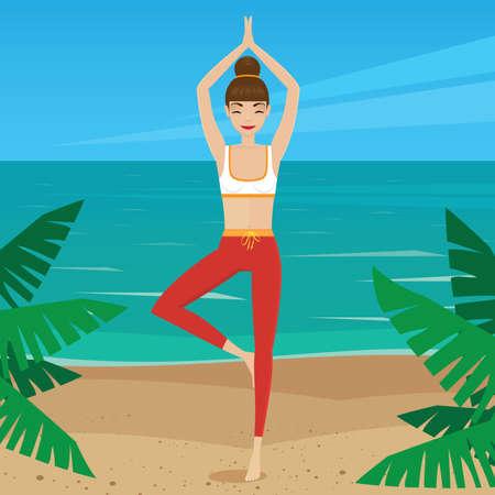 Girl meditating in yoga pose vriksasana - mental balance concept Ilustrace