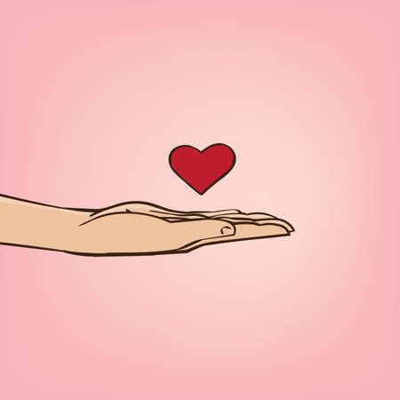 Man extends his hand with heart symbol - declaration of love concept