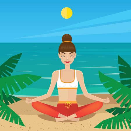paz interior: Mujer meditando en posición de loto al mediodía - concepto de paz interior