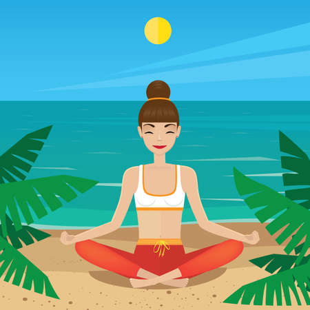 siddhasana: Woman meditating in lotus pose at midday - inner peace concept