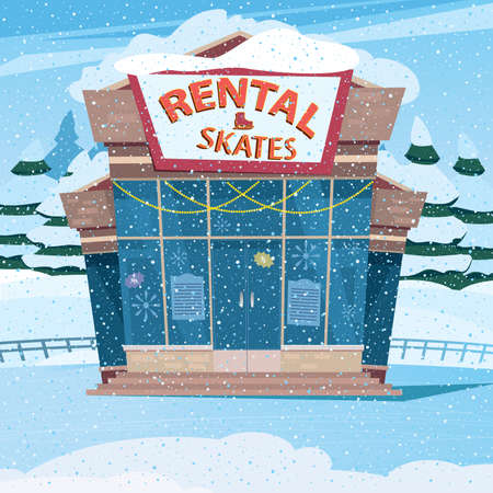 Festive pavilion at the ice rink - rental service concept