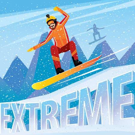 Downhill from the mountain on a snowboard - extreme sports concept