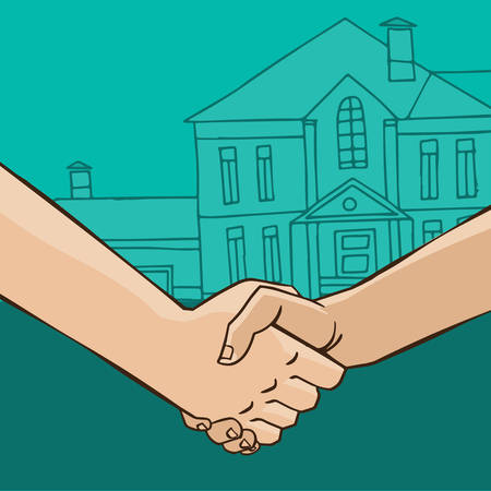 business meeting: Two men shaking hands on the background of the house - sale or rental concept Illustration