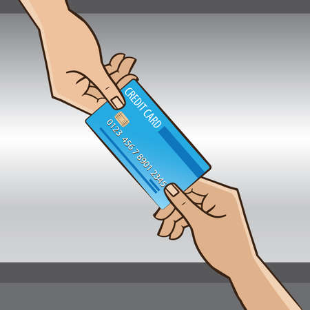 one person: One person giving the card to another person - purchase or shopping concept