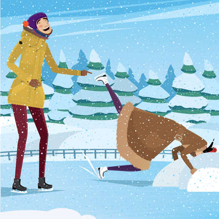 he laughs: She dropped her head into the snow, and he laughs - practical joke concept