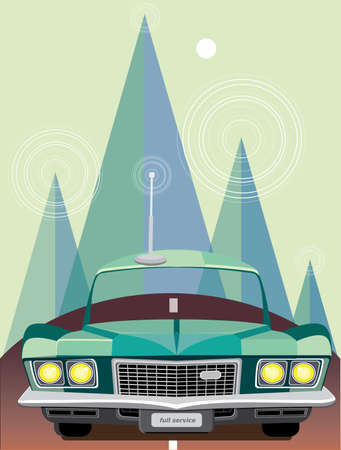 Vector illustration on color background featuring a retro car on the road in the mountains Illustration