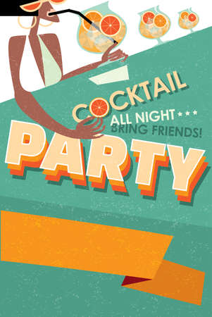 Vector illustration featuring cocktail party invitation with space for text