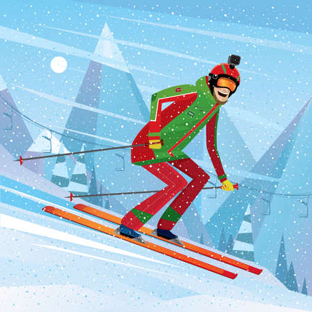 eagerness: Man skiing with action camera on his head - fun or entertainment concept