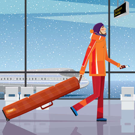 locomotion: Man walks through the airport with a snowboard - sport tourism concept Illustration