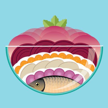 herring: Vector illustration on color background featuring herring under fur Illustration