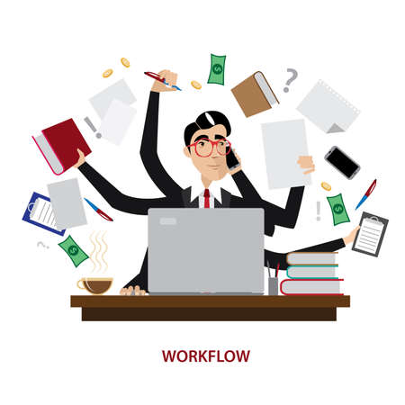 tasks: Vector illustration on white background featuring a successful and busy multi-tasking businessman