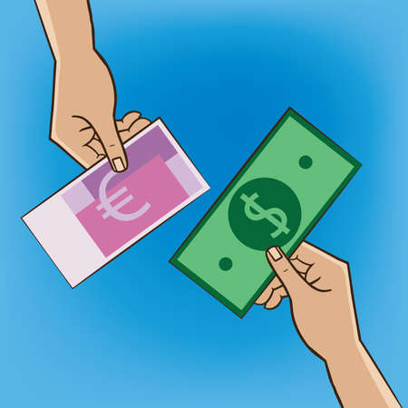 replacement: Two people changing money - replacement and exchange concept Illustration