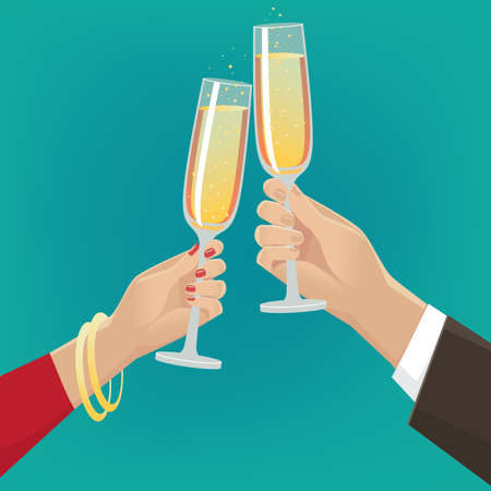 ardor: Fancy couple clink glasses of champagne indoors. Celebrate concept Illustration