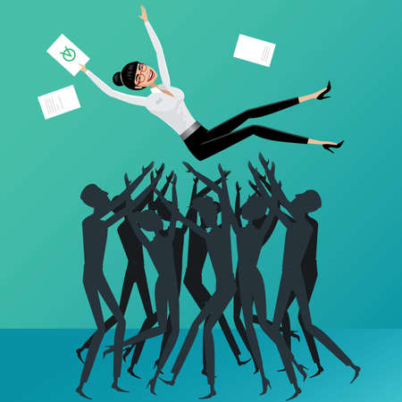 businesslike: Group of people toss up business woman Success concept Illustration