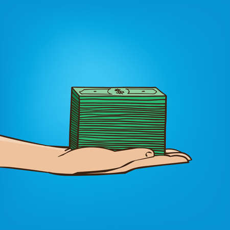 Man extends his hand with bundle of money - salary or expense concept Illustration