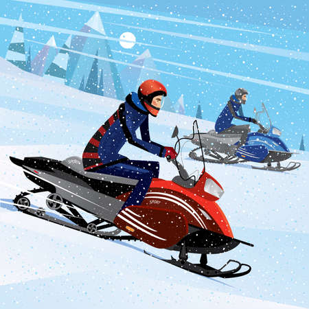 People riding on a snowmobile - winter sport concept