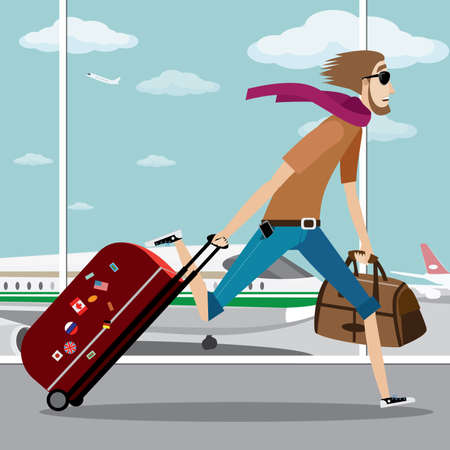 Vector illustration on color background featuring man with bag, suitcase and sunglasses late for the plane