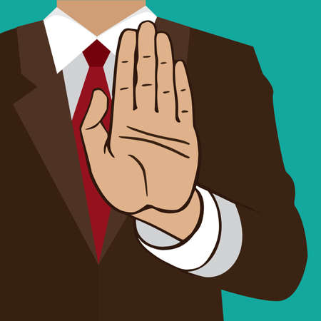 to tie: Man pointing palm facing forward - closeup gesture stop Illustration