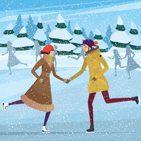 iceskating: Couple skating on ice-skating rink - Christmas season concept