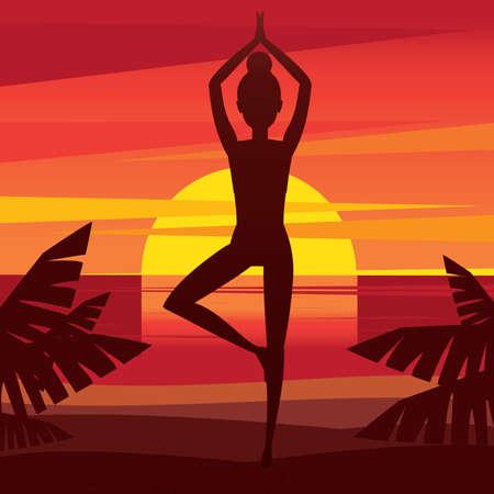 vriksasana: Woman standing in yoga pose vrikshasana - mental balance concept