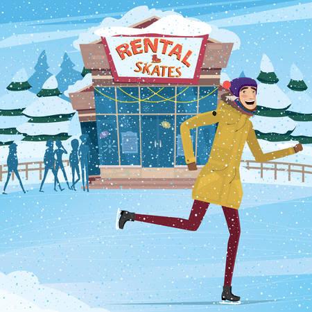 アイス スケートと背景レンタル - レンタル サービス コンセプトに乗る男 写真素材 - 49371860
