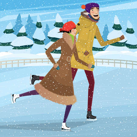 love affair: Couple skating on ice rink in privacy - Winter holidays concept