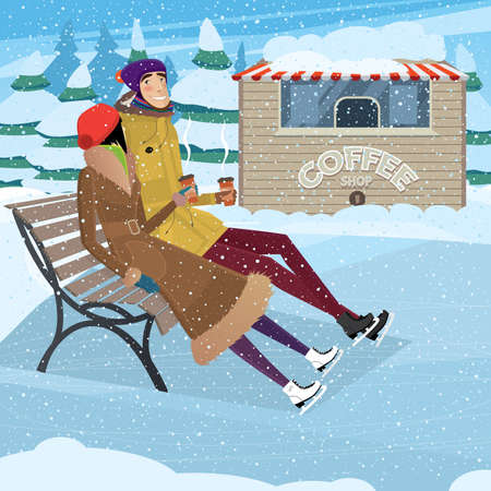 Couple resting and drinking coffee on ice rink - New Years holidays concept Çizim