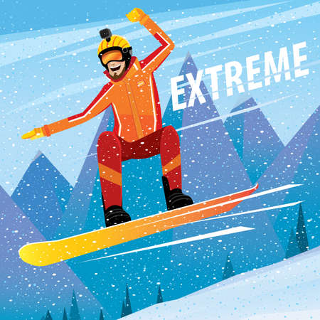 eagerness: Man rushes from the mountain on a snowboard - extreme sport concept Illustration