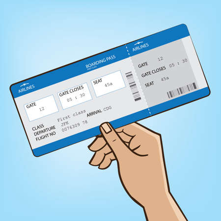extends: Man extends his hand with the boarding pass - boarding the plane concept Illustration