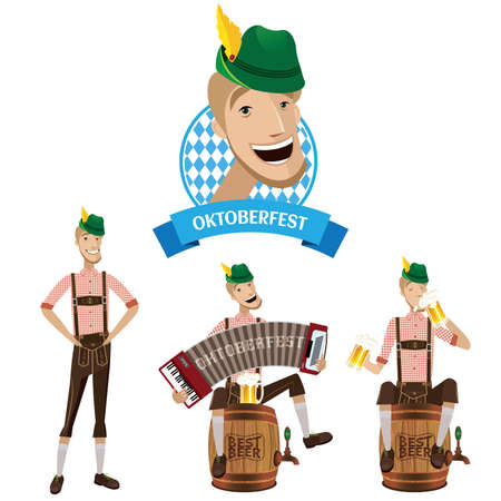 dungarees: Set Oktoberfest includes a man in three stages, stands, drinks and plays