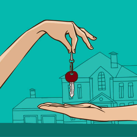 rent index: House key from hand to hand - house gift or sale concept Illustration