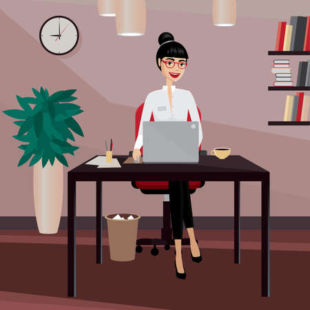 happy business woman: Happy business woman working at workplace in the office