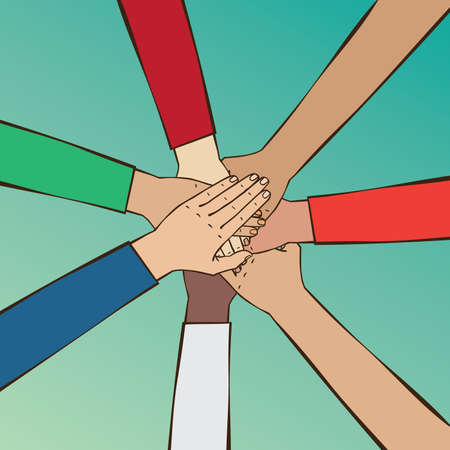 reach out: Group of people putting hands together - partnership or unity people concept