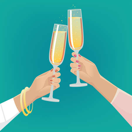 formalwear: Fancy girlfriends clink glasses of champagne indoors. Celebrate concept Illustration