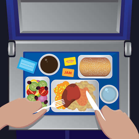 ready cooked: The man has dinner on the plane, first person view - airline meal concept Illustration